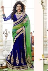 Pavitraa  Neavy Blue designer Velvet Lahenga Saree