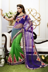 Pavitraa  Net Saree Crafted with Zari,  Stone,  Applique,  and Patch work