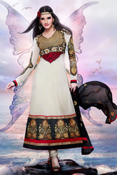Off white With Black Embroidery Salwar Suit