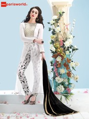 Off White Georgette Charming Party wear Salwar Kameez Eid Collectiomn