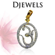 Diamond Om Pendant in 14K Hallmarked Gold