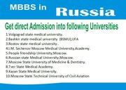 MBBS Admission open top university in RUSSIA CALL-7092733335