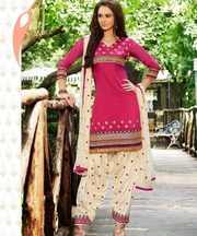 Pink Cream Patiala Semi Stitched Salwar Kameez