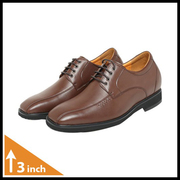 Mens Brown Leather Height Increasing Shoes