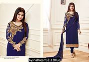 Georgette with emb work+stone Salwar Kameez-  (Semi-Stitched)