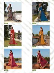 Exclusive Silk Crepe Prints And Designer border saree