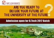 Fill Online Form To Apply For B.Tech At NIIT University